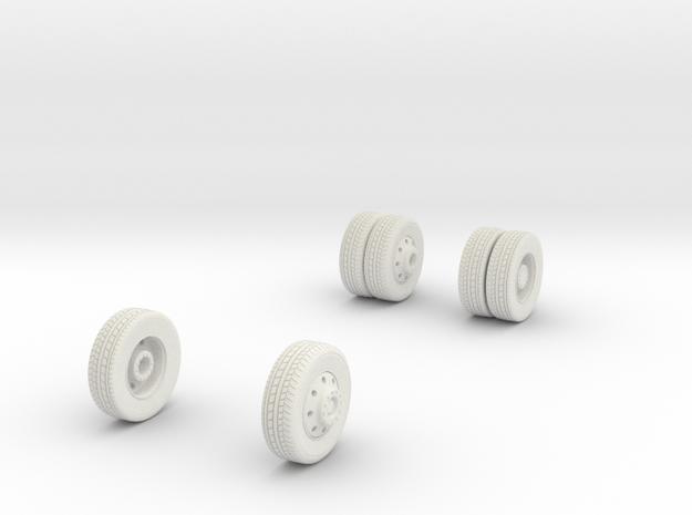 1/64 Wheels for FDNY Pumper in White Natural Versatile Plastic
