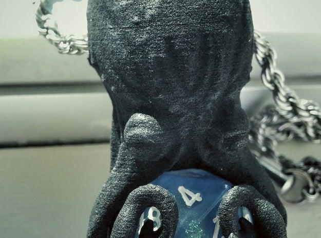 D20 Octopus Pendant in Black Natural Versatile Plastic