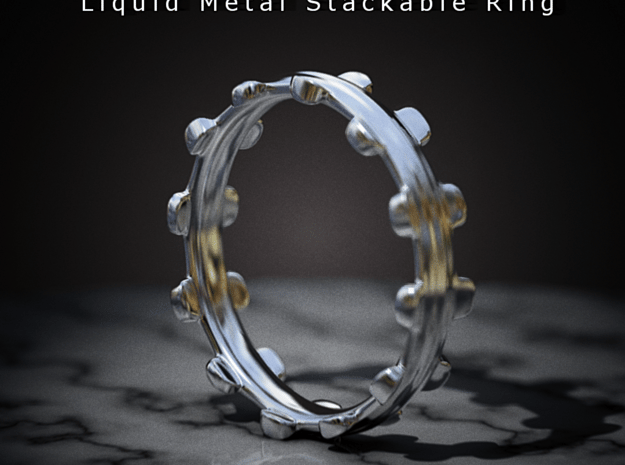 Liquid Metal Stackable Ring in Polished Bronzed Silver Steel
