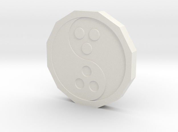 Dudeist Coin (Heads on both sides) in White Natural Versatile Plastic