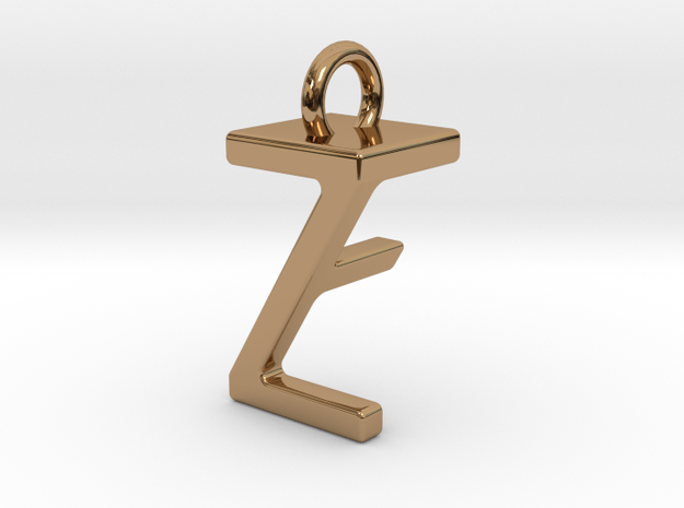 Two way letter pendant - FZ ZF in Polished Brass