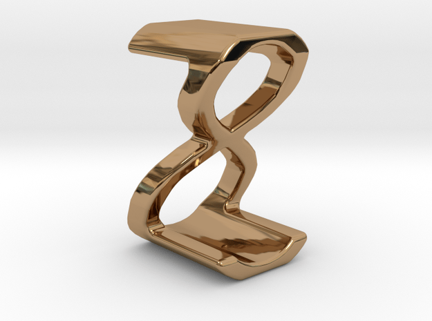 Two way letter pendant - Z8 8Z in Polished Brass