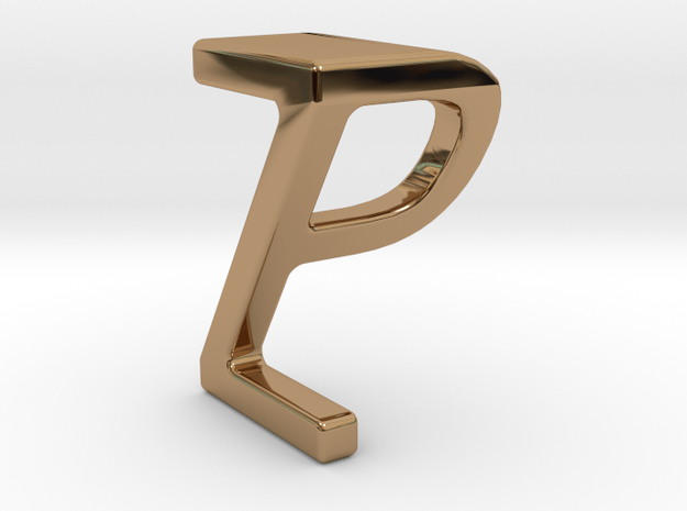 Two way letter pendant - PZ ZP in Polished Brass