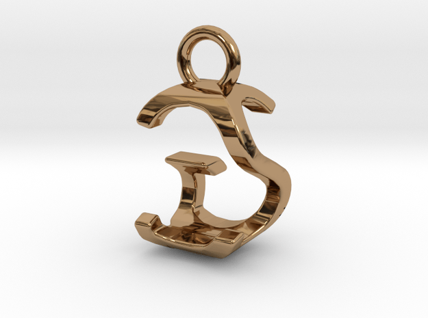 Two way letter pendant - GS SG in Polished Brass