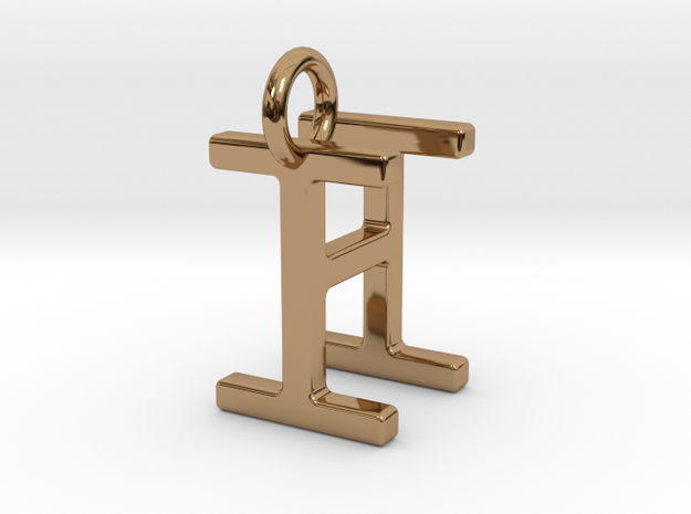 Two way letter pendant - HI IH in Polished Brass
