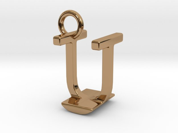 Two way letter pendant - IU UI in Polished Brass