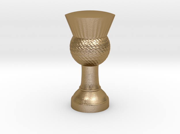 Thistle flag pole finial (steel) in Polished Gold Steel