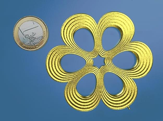 Flower Pendant 01 in Polished Gold Steel