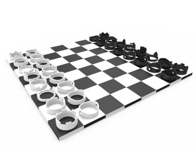 Ring Chess Set in White Natural Versatile Plastic