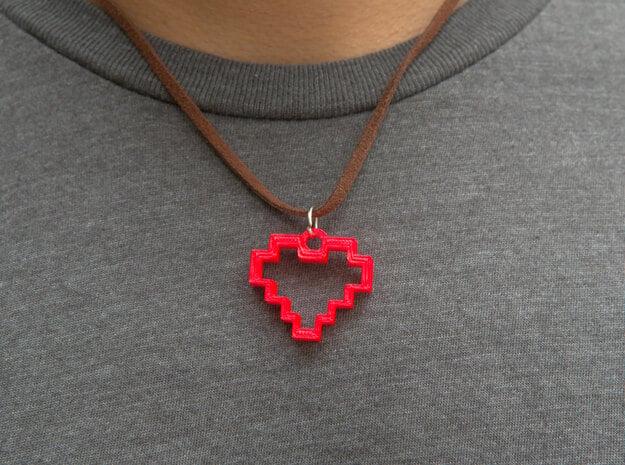 8 Bit Heart Pendant in Red Processed Versatile Plastic