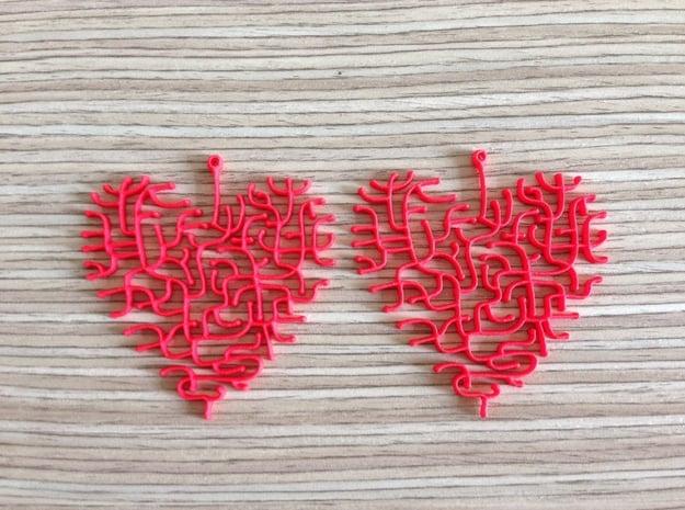 Heart Earrings in Red Processed Versatile Plastic