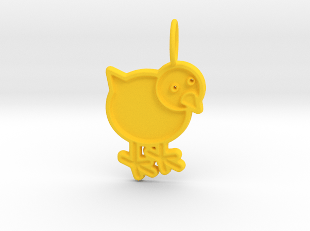 Chicken Pendant in Yellow Processed Versatile Plastic