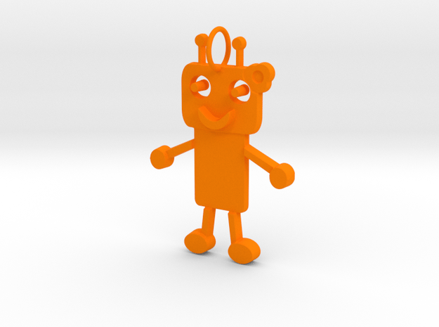 Robot girl keychain in Orange Processed Versatile Plastic