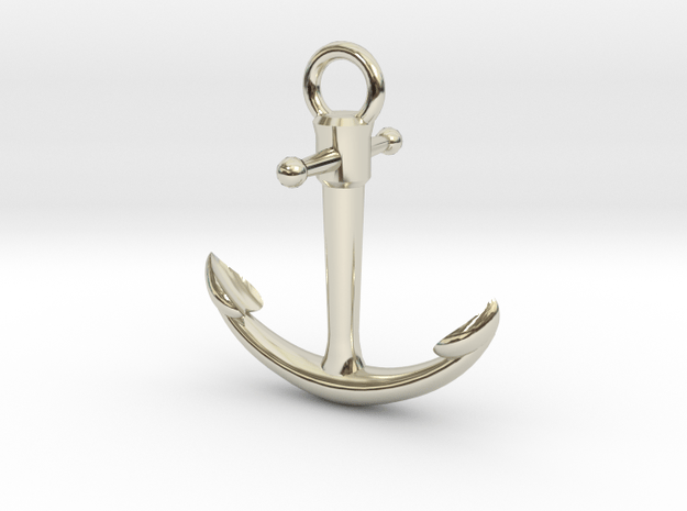 Anchor Pendant in 14k White Gold