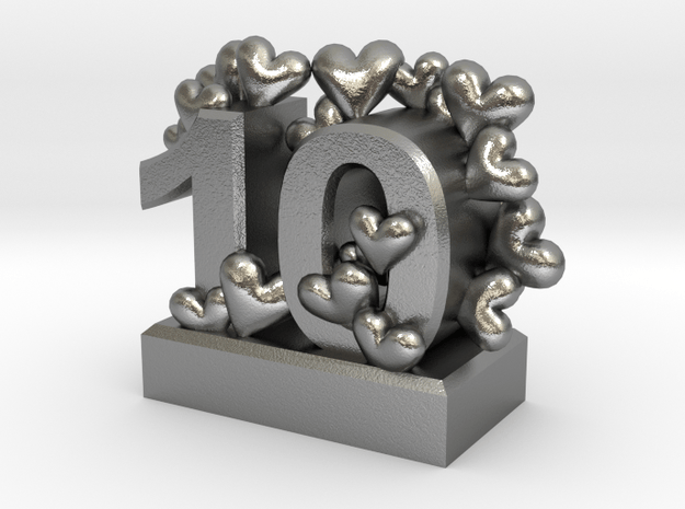 10th Anniversary Aluminum Gift in Natural Silver