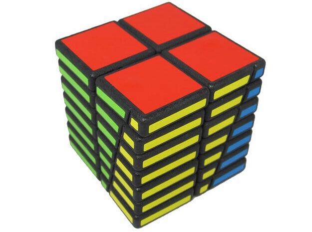 Offset Cube in White Natural Versatile Plastic