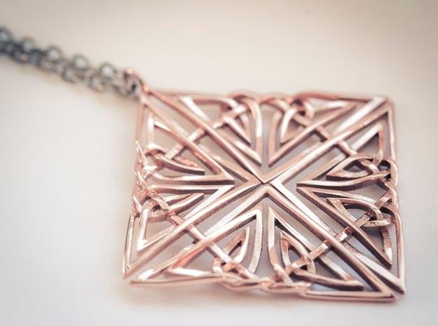 Celtic Knot Pendant in 14k Rose Gold Plated Brass
