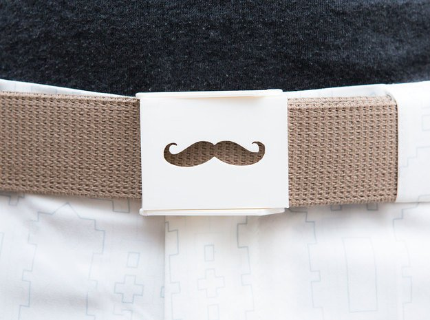 Mustache Belt Buckle in White Natural Versatile Plastic