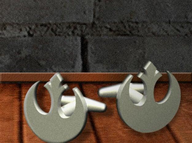 Rebel-Alliance Cufflink in Polished Bronzed Silver Steel