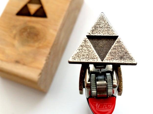 Legend of Zelda - Triforce Lighter Brand in Polished Bronzed Silver Steel