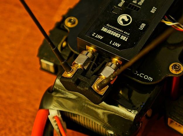TBS Crossfire 8CH Rx Tuned Antenna Clip 60° in Black Natural Versatile Plastic