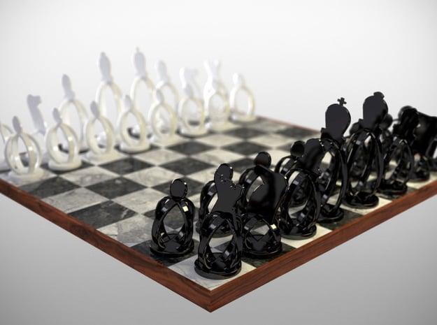 Wireframe Chess set in Black Natural Versatile Plastic