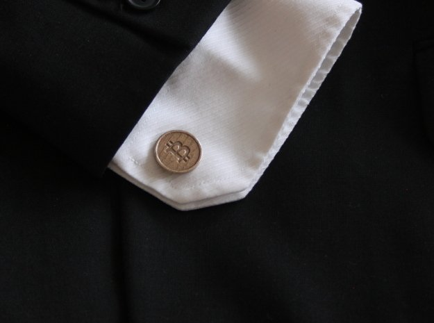 Bitcoin Cufflinks in Polished Bronzed Silver Steel
