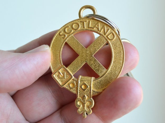 "Scottish Flag ""Saltire"" key fob in Polished Gold Steel"