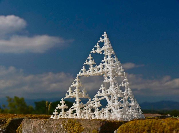 Sierpinski Tetrahedron Tree (thin branches) in White Natural Versatile Plastic