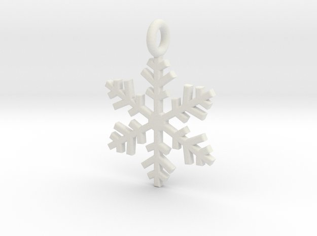 Snowflake Charm 1 in White Natural Versatile Plastic