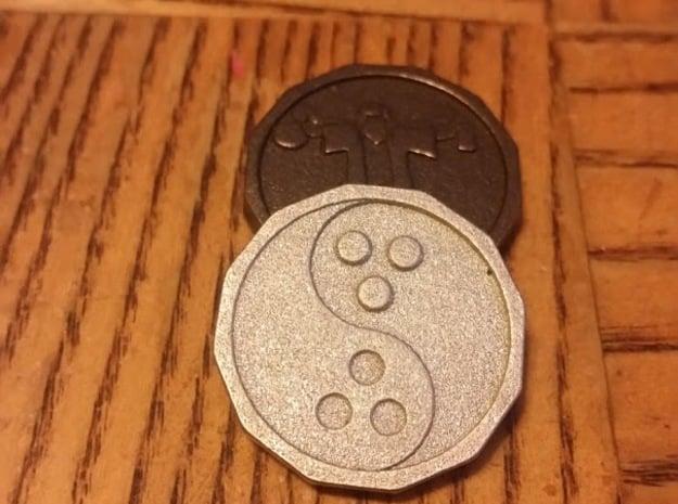 Dudeist Coin Pendant in Polished Nickel Steel