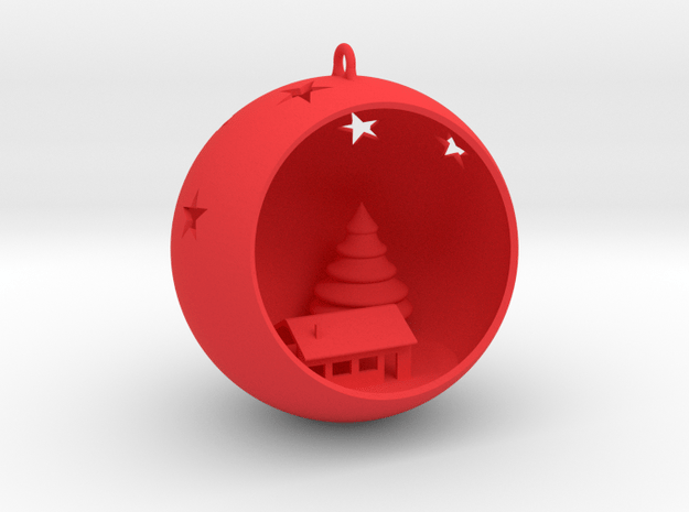 Christmas Bauble 4 in Red Processed Versatile Plastic