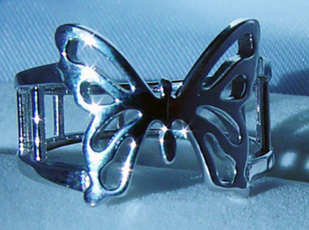 Butterfly Ring in Rhodium Plated Brass