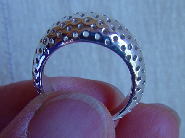 Round Pattern Ring   in Polished Silver