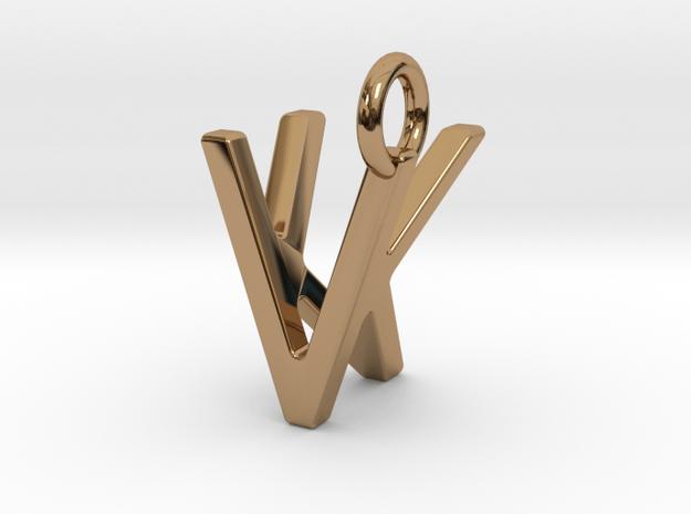 Two way letter pendant - KV VK in Polished Brass