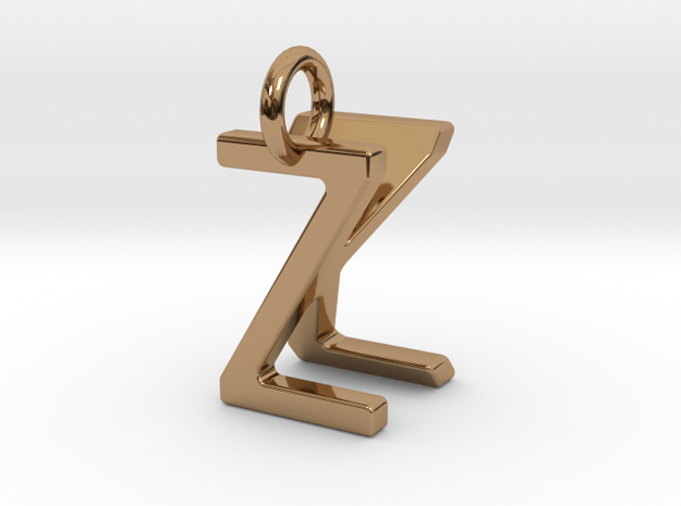 Two way letter pendant - KZ ZK in Polished Brass