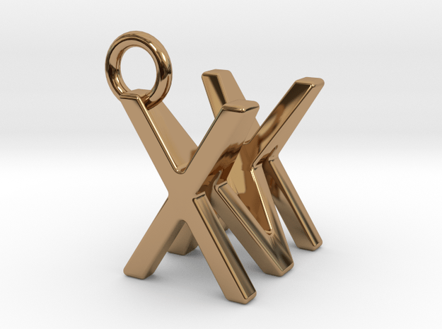 Two way letter pendant - MX XM in Polished Brass