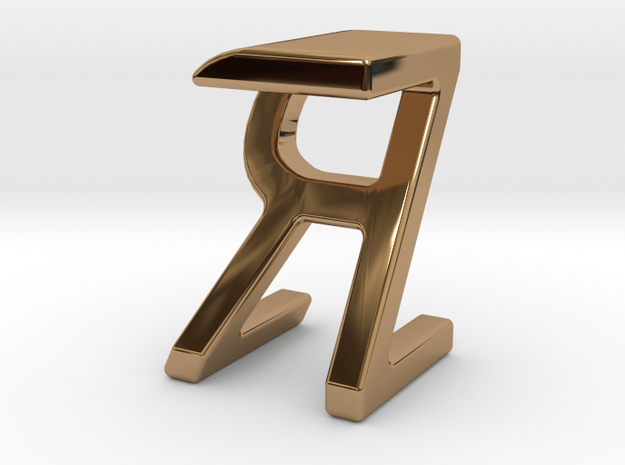 Two way letter pendant - RZ ZR in Polished Brass