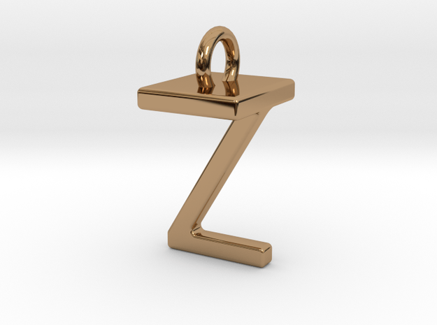 Two way letter pendant - TZ ZT in Polished Brass