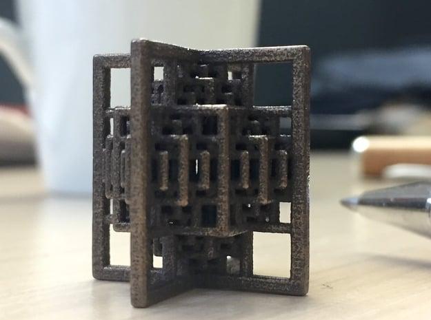 Beamed CuboOctahedron Mini in Polished Bronze Steel