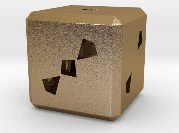 Dice No.3 L (balanced) (3.6cm/1.42in) in Polished Gold Steel