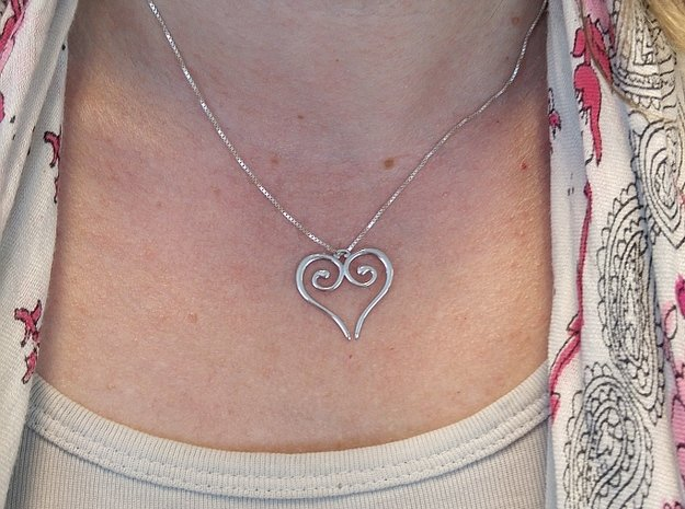 Medieval Heart in Rhodium Plated Brass