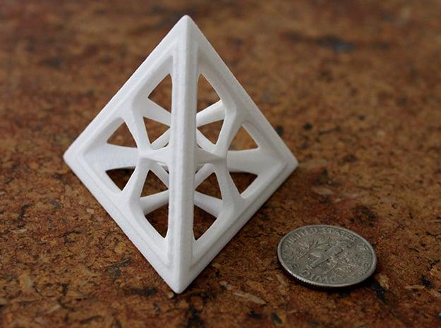 Tetrahedron in White Processed Versatile Plastic: Medium