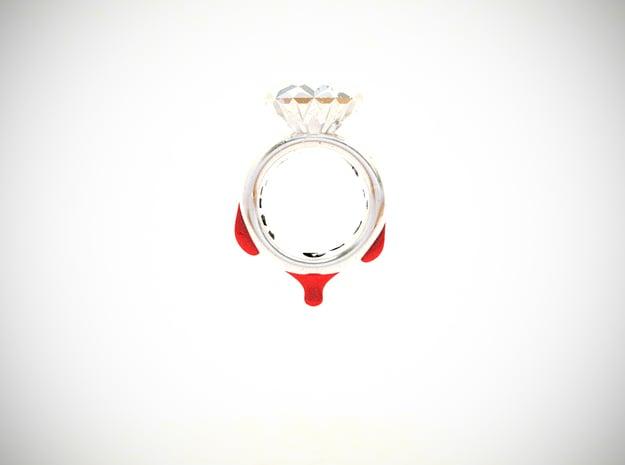 Blood Diamond Ring D18 in White Processed Versatile Plastic