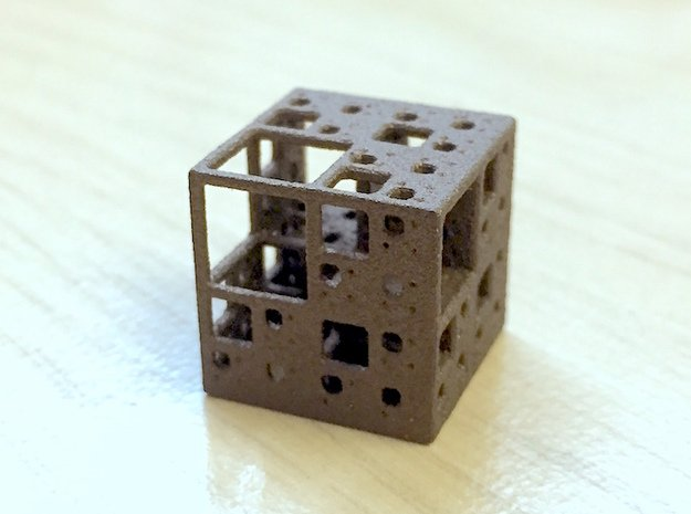 NewMenger - small fractal sculpture in Polished Bronze Steel
