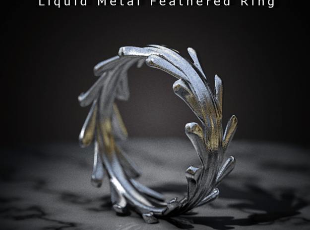 Liquid Metal Feathered Ring in Polished Bronzed Silver Steel