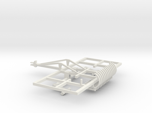 1/64 Chisel Plow frame with shanks, no wheels  in White Natural Versatile Plastic