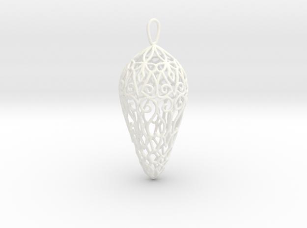 Small Lace Teardrop Ornament in White Processed Versatile Plastic