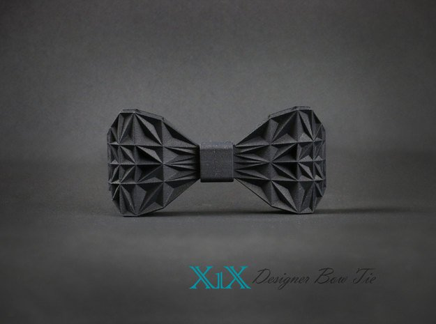 """Designer Bow Tie """"X1X"""" in Black Natural Versatile Plastic"""