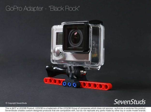 "GoPro Mount for LEGO® Technic ""Black Rock"" in Black Natural Versatile Plastic"